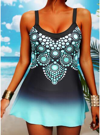 Tisk Gradient Na ramínka Sexy Plavkové šaty Costume de baie