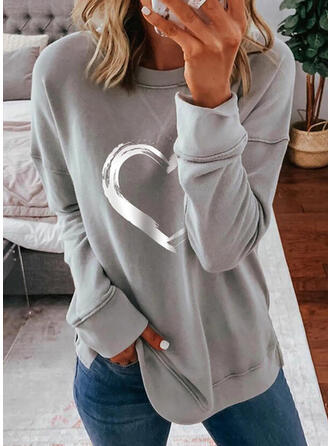 Kalp Imprimeu Guler Rotund Mâneci Lungi Tişörtler