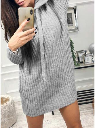 Solid Glugă Rochie pulover