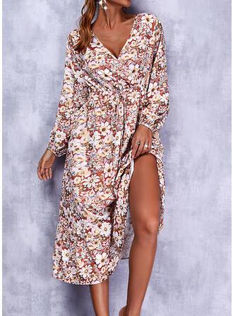 Imprimeu/Floral Mâneci Lungi Bir Çizgi Patenci gündelik Midi Elbiseler