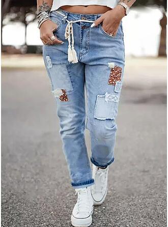 Às bolinhas Jean Grandes Casual férias Costura Bolso shirred cordão Jeans