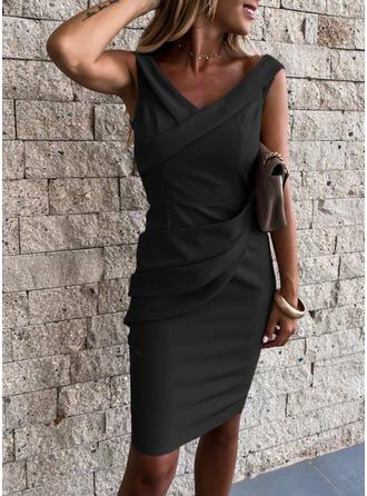 Solid Cap Sleeve Bodycon Knee Length Little Black/Sexy/Casual/Party Dresses