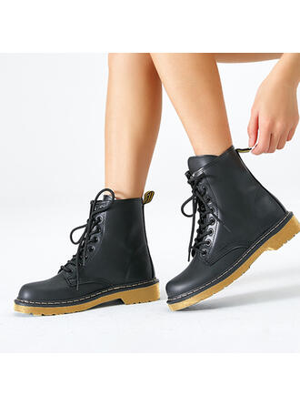 Women's Leatherette Low Heel Closed Toe Boots Round Toe Martin Boots With Lace-up shoes