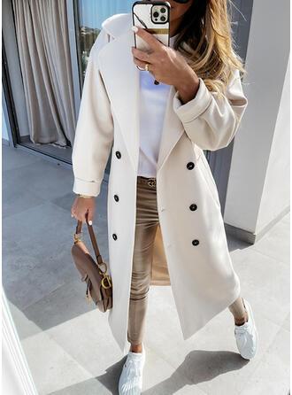 Uzun kollu Düz / Tek (Renk) Slim Fit kabátok