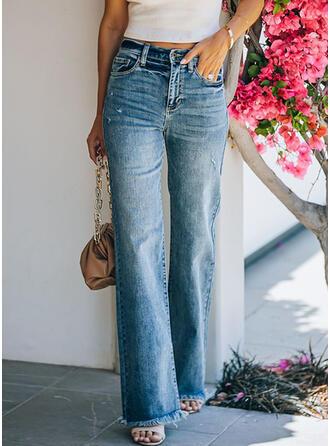 Solid kot Uzun gündelik Kot pantolon