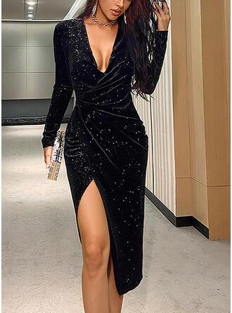 Solid Long Sleeves Sheath Asymmetrical Little Black/Party/Elegant Dresses