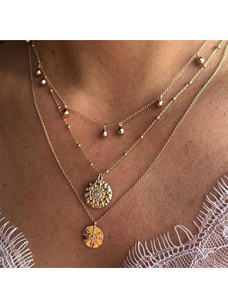 Vintage Layered Alloy Crystal Women's Necklaces 3 PCS
