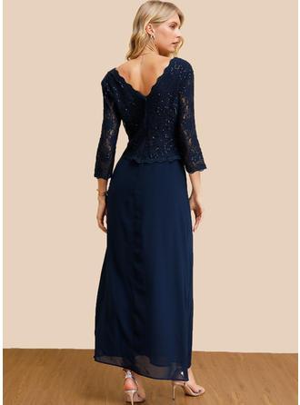 Koronka/Cekiny/Jednolita/Bez pleców Rękawy 3/4 W kształcie litery A Łyżwiaż Przyjęcie/Elegancki Maxi Sukienki