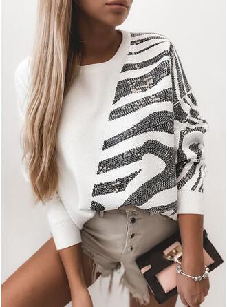 Payetler Guler Rotund Mâneci Lungi Tişörtler