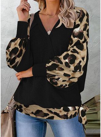 Leopard V-Neck Long Sleeves T-shirts