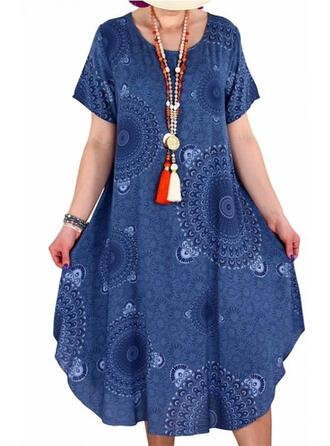 Große Größen Druck Kurze Ärmel Etuikleider Midi Lässige Kleidung Kleid