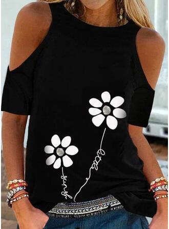 Drucken Blumen Buchstaben Kalte Schulter Kurze Ärmel Freizeit Blusen