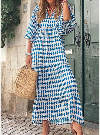 Imprimeu Măneci Trei Sferturi Puff manşonuna Shift Elbiseleri gündelik Maxi Elbiseler