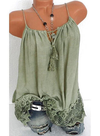 Lace Solid Tassel Spaghetti Straps Sleeveless Tank Tops