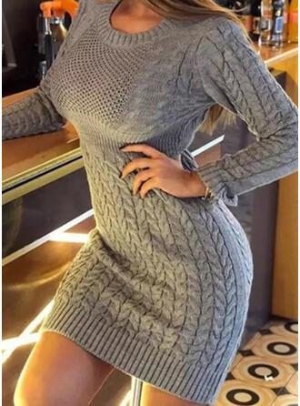 Sólido Punto De Cable Cuello Redondo Casuales Largo Ajustado Vestido de Suéter
