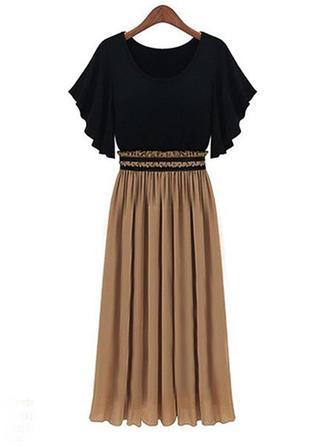 Color Block Short Sleeves A-line Casual Midi Dresses