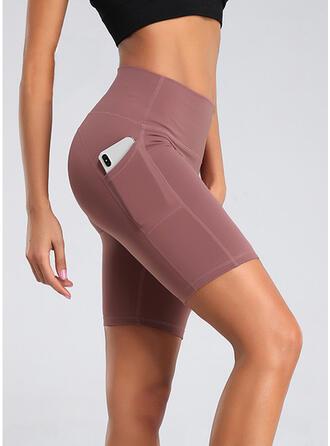 Cuvertură din diferite petice buzunare Plus Size Deasupra genunchiului Sexy Yoga Pantaloni scurti Colanți