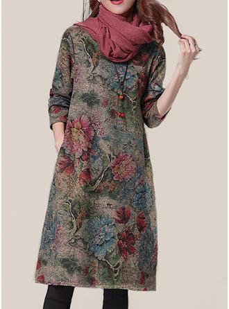 Fleurie Manches Longues Fourreau Longueur Genou Robes