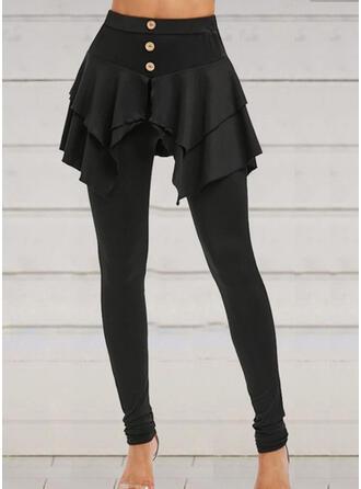 Solid Pluss størrelse Halloween Lang Avslappet Elegant Sportslig leggings