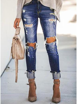 Solid kot Uzun gündelik Tatil Büyük beden Pocket Yırtık Kot pantolon
