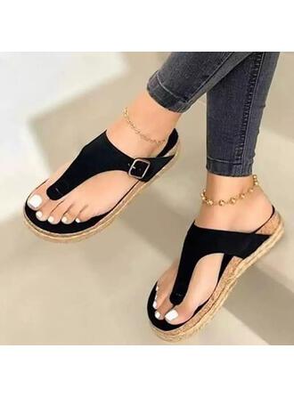Pentru Femei PU Fară Toc Platformă Puţin decupat în faţă Şlapi între degete Şlapi cu De la gât înafară Culoare solida pantofi