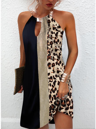 Print/Color Block/Leopard/Backless Sleeveless Shift Above Knee Casual Dresses