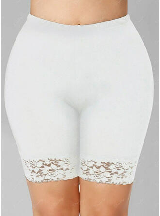 Solid Lace Above Knee Casual Plus Size Jacquard Pants Shorts Leggings
