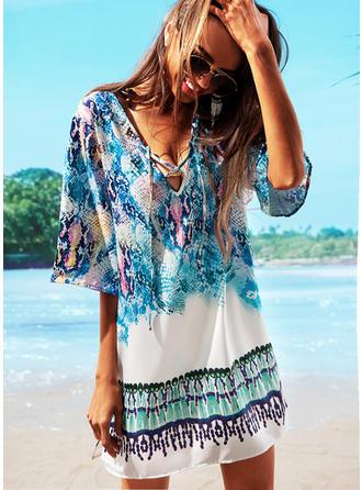 Renkli V yaka Güzel Plaj Elbisesi Fürdőruhák