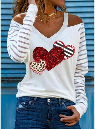 leopar Kalp Imprimeu Çizgili Soğuk omuz Mâneci Lungi Tişörtler