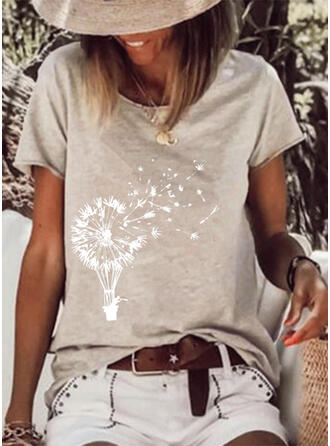 Dandelion Print Round Neck Short Sleeves T-shirts