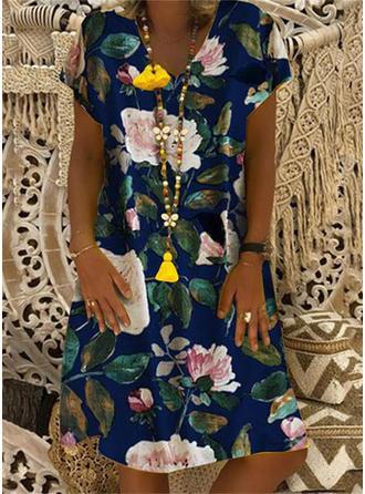 Print/Floral Short Sleeves Shift Knee Length Casual/Boho/Vacation T-shirt Dresses
