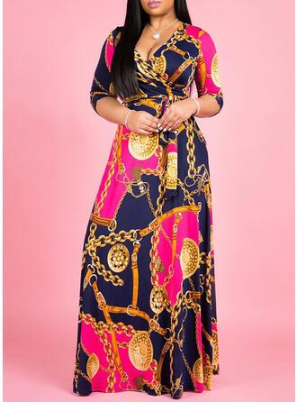Pluss størrelse Trykk Trekvart ermer A-line kjole Maxi Avslappet Kle