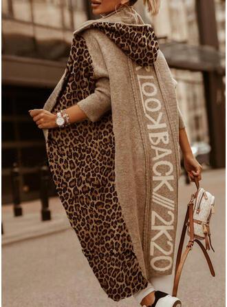 Impresión Bloque de Color Leopardo Capucha Casuales Largo Cárdigan