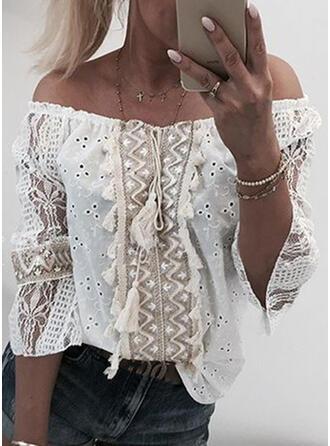 Lace Tassel Off the Shoulder 3/4 Sleeves Elegant Blouses