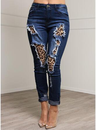 джинсы Длинная Повседневная Большой размер Pocket shirred разорвал кнопка Штаны Джинсы