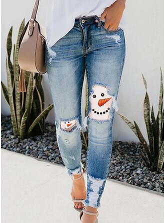 Impresión imitación jean Largo Casual Vacaciones Tallas Grande Bolsillo rasgados Pantalones Vaqueros