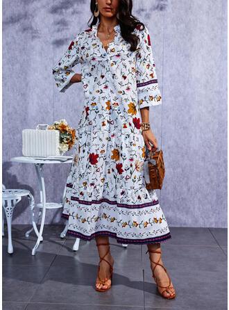 Imprimeu Mâneci la Jumătate Shift Elbiseleri gündelik Maxi Elbiseler