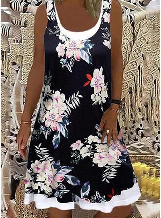Tisk/Květiny Bezrukávů Šaty Shift Nad kolena Neformální Šaty