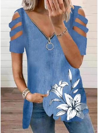 Estampado Floral Ombros à Mostra Manga Curta Casual Blusas