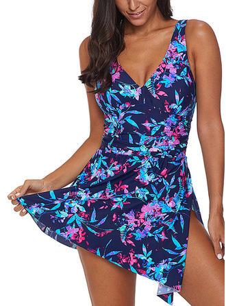 Impressão Tropical Cinta Sexy Tamanho positivo Vestidos de banho Maiôs