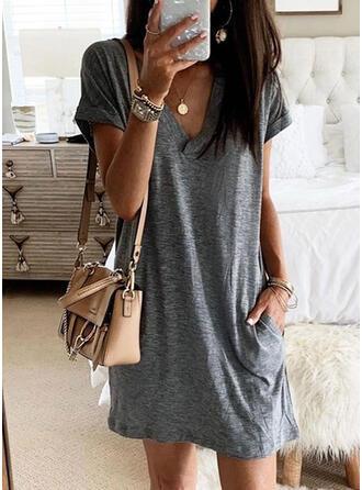 Solid Kortermer Kvinnedrakt Overknee Casual T-skjorte Kjoler