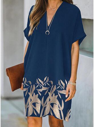 Imprimeu/Floral Mâneci Scurte Shift Elbiseleri Până la Genunchi gündelik Tunică Elbiseler