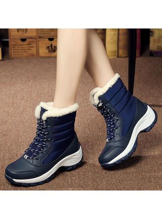 Женский холст Танкетка клинья ботинки Зимние ботинки с Зашнуровать обувь