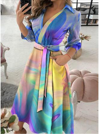 Imprimeu Mâneci Lungi Bir Çizgi Wrap/Patenci gündelik Midi Elbiseler