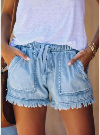 Pockets Drawstring Above Knee Casual Shorts