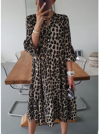 Leopard 3/4 Sleeves Shift Casual/Vacation Midi Dresses