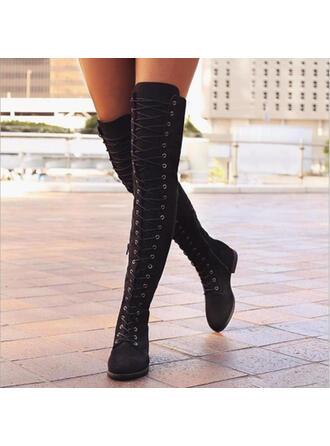 Mulheres PU Sem salto Botas Bota em cima do joelho com Aplicação de renda sapatos