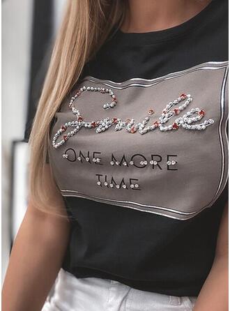 Wysadzana perełkami Figura Nadruk cekiny Okrągły dekolt Krótkie rękawy T-shirty