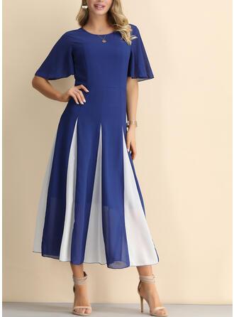 Color Block Short Sleeves A-line Vintage/Little Black/Casual/Party/Elegant Midi Dresses