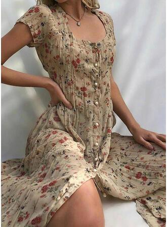 Estampado/Floral Manga Curta Bainha Casual/Férias Midi Vestidos